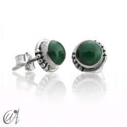 Malachite and sterling silver, round earrings model Hecate