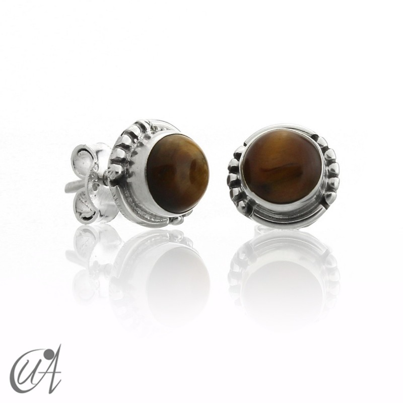 Tiger eye and sterling silver, round earrings model Hecate