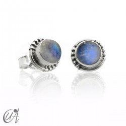 Moonstone and sterling silver, round earrings model Hecate