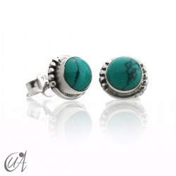 Turquoise and sterling silver, round earrings model Hecate