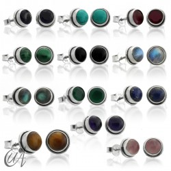 Sterling silver round earrings with gemstones