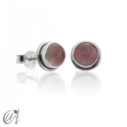 Pendientes redondos en plata 925 con cuarzo rosa