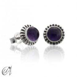 mini earrings - sterling silver and amethyst, Ártemis