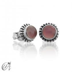 Mini pendientes de cuarzo rosa y plata de 1ª ley, Ártemis