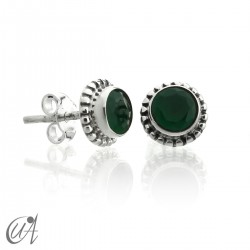 mini earrings - sterling silver and emerald, Ártemis