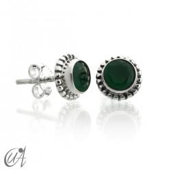 Mini pendientes de  esmeralda y plata de 1ª ley, Ártemis