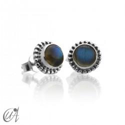 mini earrings - sterling silver and labradorite, Ártemis