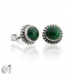 mini earrings - sterling silver and malachite, Ártemis