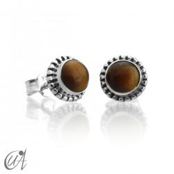 mini earrings - sterling silver and tiger eye, Ártemis