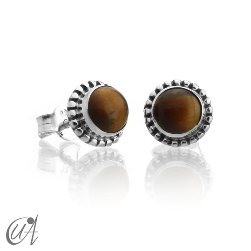 mini earrings - sterling silver and tiger eye, Ártemis
