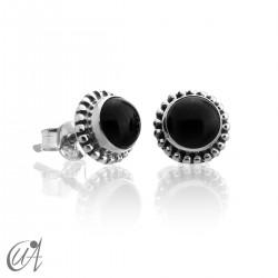 mini earrings - sterling silver and onyx, Ártemis