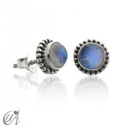 mini earrings - sterling silver and moonstone, Ártemis