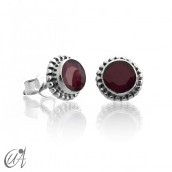 mini earrings - sterling silver and ruby, Ártemis