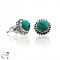 mini earrings - sterling silver and turquoise, Ártemis