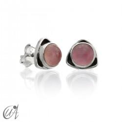 Pendientes triangular de plata 925 con cuarzo rosa