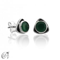Pendientes triangular de plata 925 con esmeralda