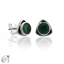 Sterling  silver triangular earrings with emerald