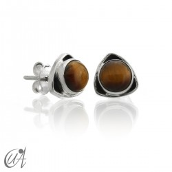 Sterling  silver triangular earrings with tiger eye