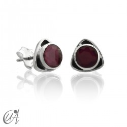 Sterling  silver triangular earrings with ruby