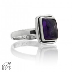 Amethyst - sterling silver rectangular ring