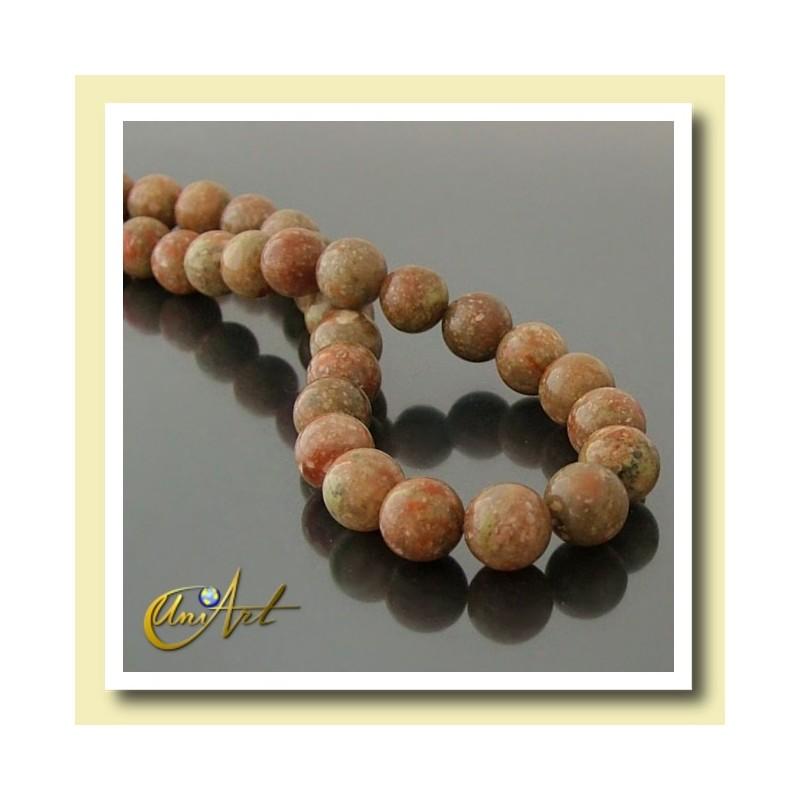 10 mm Round beads of Unakite