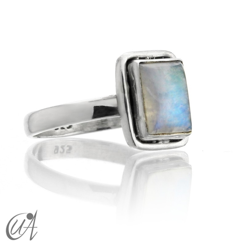 Silver and moonstone rectangular ring