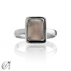 925 Silver ring with rose quartz - rectangular