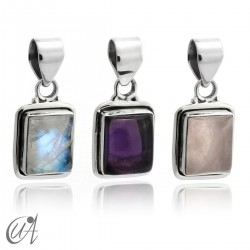 Rectangular model pendant in 925 silver with stones