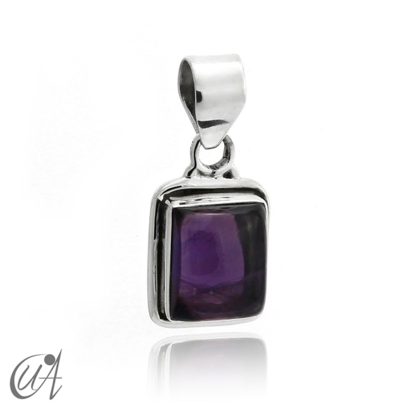 Rectangular model pendant in 925 silver with  amethyst