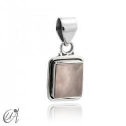 Colgante rectangular en plata 925 con cuarzo rosa