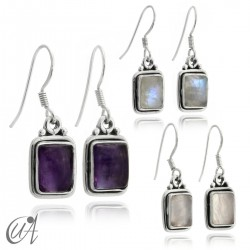 Earrings rectangular model of 925 silver and stones