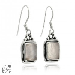 Earrings rectangular model of 925 silver and rose quartz