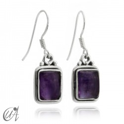 Earrings rectangular model of 925 silver and amethyst