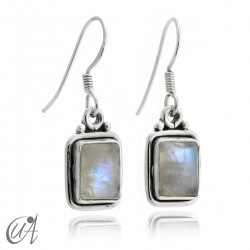 Earrings rectangular model of 925 silver and moonstone