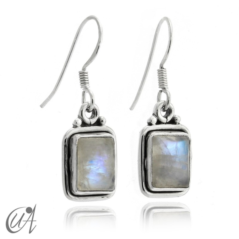Earrings rectangular model of 925 silver and moonstone
