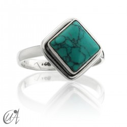 Silver ring with turquoise square format