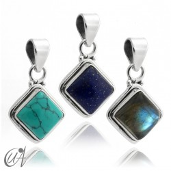 Square pendant 925 silver with stone