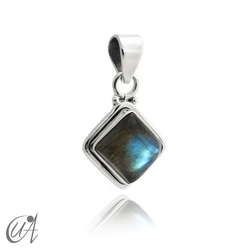 Square pendant 925 silver with labradorite
