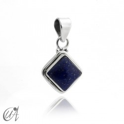 Square pendant 925 silver with lapis lazuli