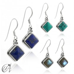 Silver and stones - square earrings
