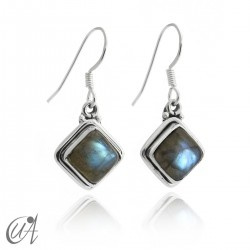Silver and labradorite - square earrings