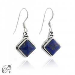 Silver and lapis lazuli - square earrings