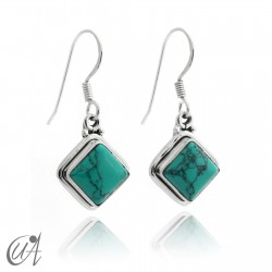 Silver and turquoise - square earrings