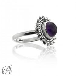 Round 925 silver ring with amethyst, Suno