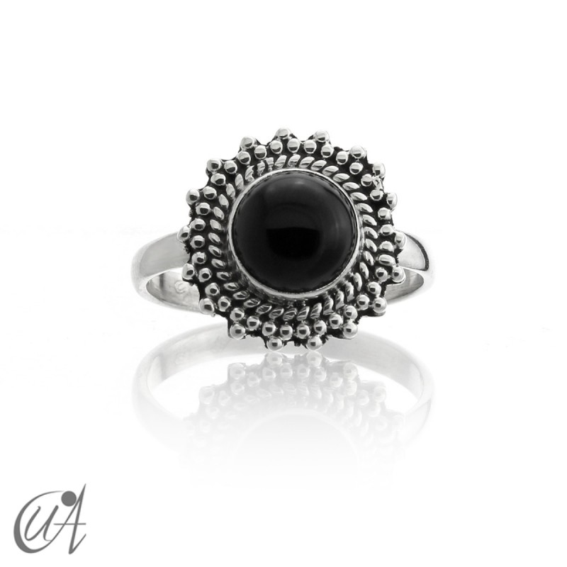 Ring with onyx stones in 925 silver, Suno