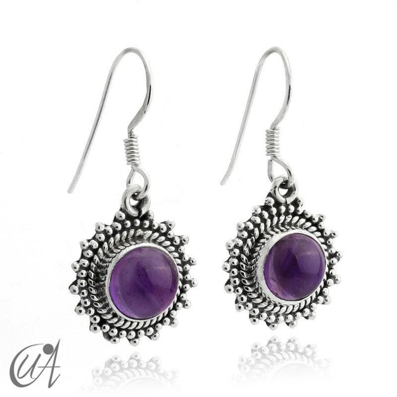 Suno earrings, amethyst with 925 silver