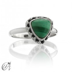 Malachite - 925 silver ring, Thira model
