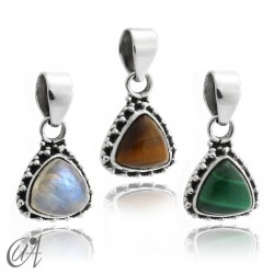 925 Silver pendant and stones Thira model