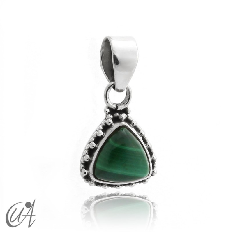 925 Silver pendant and malachite Thira model