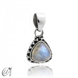 925 Silver pendant and moonstone Thira model